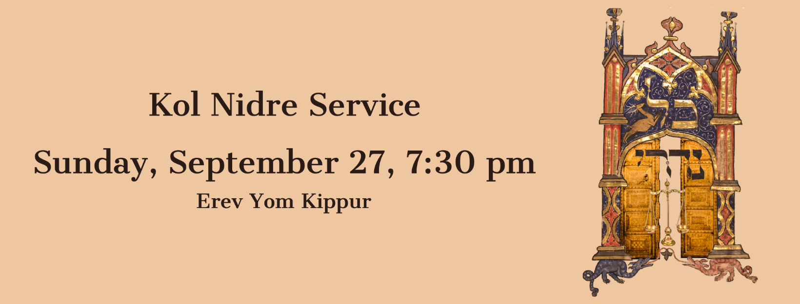 Kol Nidre Service Sunday, 7:30 pm September 27th, 2020