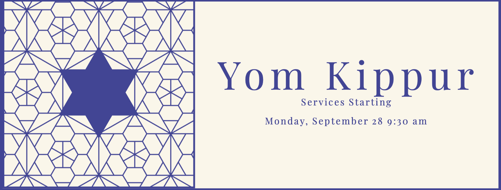Yom Kippur Services Starting at 9:30 am, Monday September 28th, 2020
