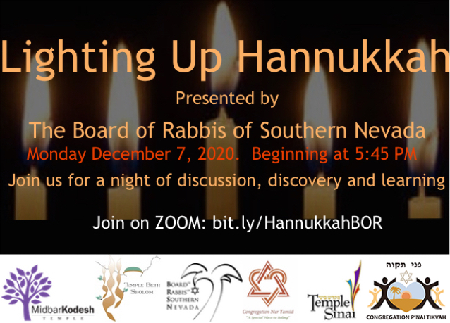The Board of Rabbis of Southern Nevada Hannukkah Dec 7, 5:45 pm