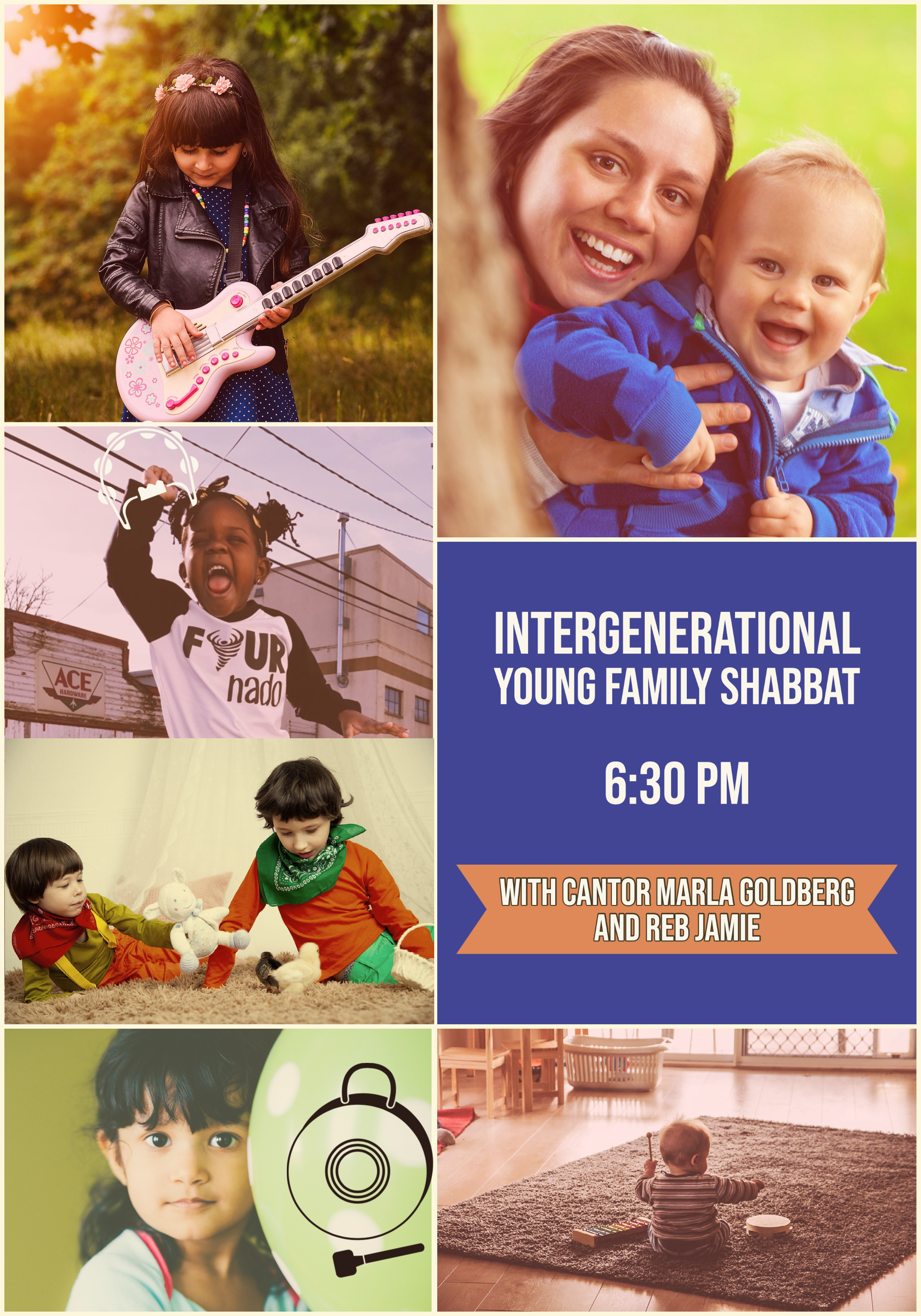 Intergenerational Young Family Shabbat 1st and 3rd Fridays at 6:30 pm